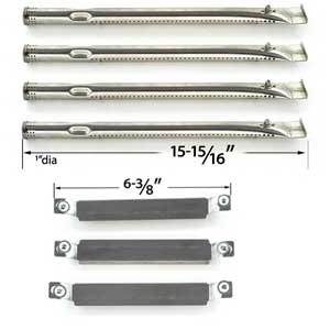 Repair Kit Includes 4 Stainless Steel Burners and 3 Stainless Steel Crossover Tubes for Charbroil 464223210, 464223610 Gas Grill Models
