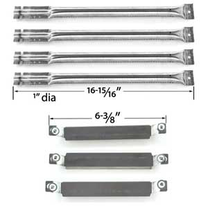 Replacement Kit Includes 4 Stainless Steel Burners and 3 Stainless Steel Crossover tubes for Charbroil 463265109, 464223210 Gas Grill Models