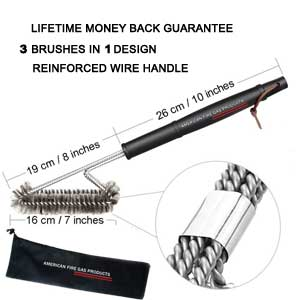 "18""- 3 in 1 Metal Clip Stainless Steel Brushes - Heavy Duty Barbecue Cleaner Tools, Perfect for Weber Charcoal, Charbroil, Gas, Electric, Smoker & Infrared BBQ Grills + Nylong Bag"