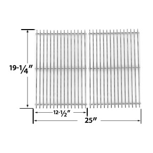 2 Pack Replacement Heavy Duty Stainless Steel Cooking Grates for Brinkmann, Charmglow, Jenn-Air, Nexgrill, Perfect Glo, Turbo and Capt'n Cook Gas Grill Models