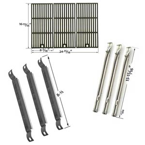 Replacement Kit Includes 3 Stainless Steel Burners, 3 Stainless Steel Crossover Tubes and 3 Matte Cast Iron Cooking Grates for Charbroil Red 500 3 Burner 463250511 Gas Grill Models