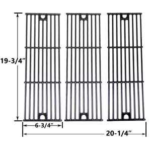 3 Pack Replacement Gloss Cast Iron Cooking Grid for Char-Griller 2121, 2123, 2222 and King Griller 3008, 5252 Gas Grill Models