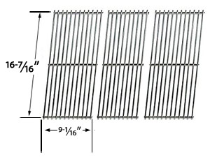 Replacement 3 Pack Stainless Steel Cooking Grid for Jenn-Air JA460, JA480, JA580, VC75A and Vermont Castings CF9050, CF9055 3A, CF9056, CF9080, CF9085, CF9086, Experience, Extreme Built-in Gas Grill Models