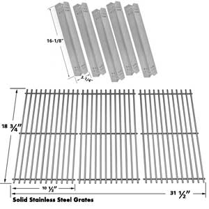 Replacement Kit Includes 5 Stainless Steel Heat Shields and 3 Stainless Steel Cooking Grates for Jenn-Air 720-0709, 720-0709B, 720-0727 Gas Grill Models