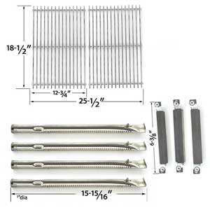Repair Kit Includes 4 Stainless Steel Burners, 3 Stainless Steel Crossover Tubes and 2 Stainless Steel Cooking Grates for Kenmore Sears 415.16942010 Gas Grill Models
