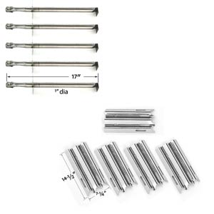 Replacement Kit Includes 5 Stainless Steel Burners and 5 Stainless Steel Heat Shields for Vermont Castings VCS5007N Gas Grill Models